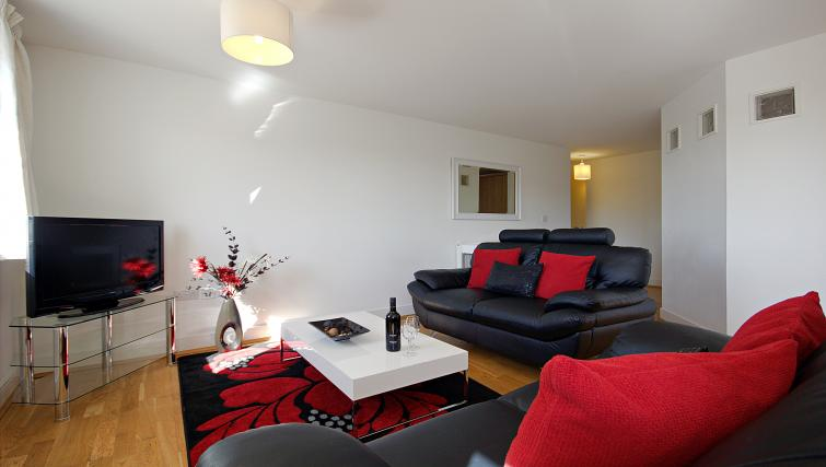 Spacious living area at The Pavilions Apartments